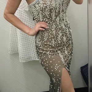 Strapless pearl sequins gown